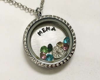 MEMA - Floating Charm Locket - Memory Locket - Custom Hand Stamped Gift for Mom or Grandma