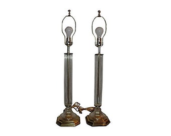 Crystal & Brass Candlestick Lamps Pair
