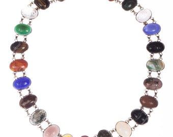 14 kt Gold Filled Scarab Gemstone Eternity Necklace