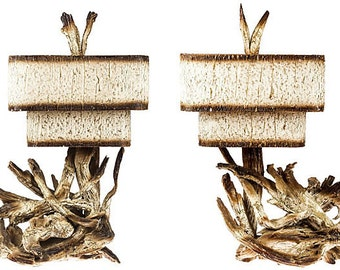Midcentury Driftwood Lamps, Pair
