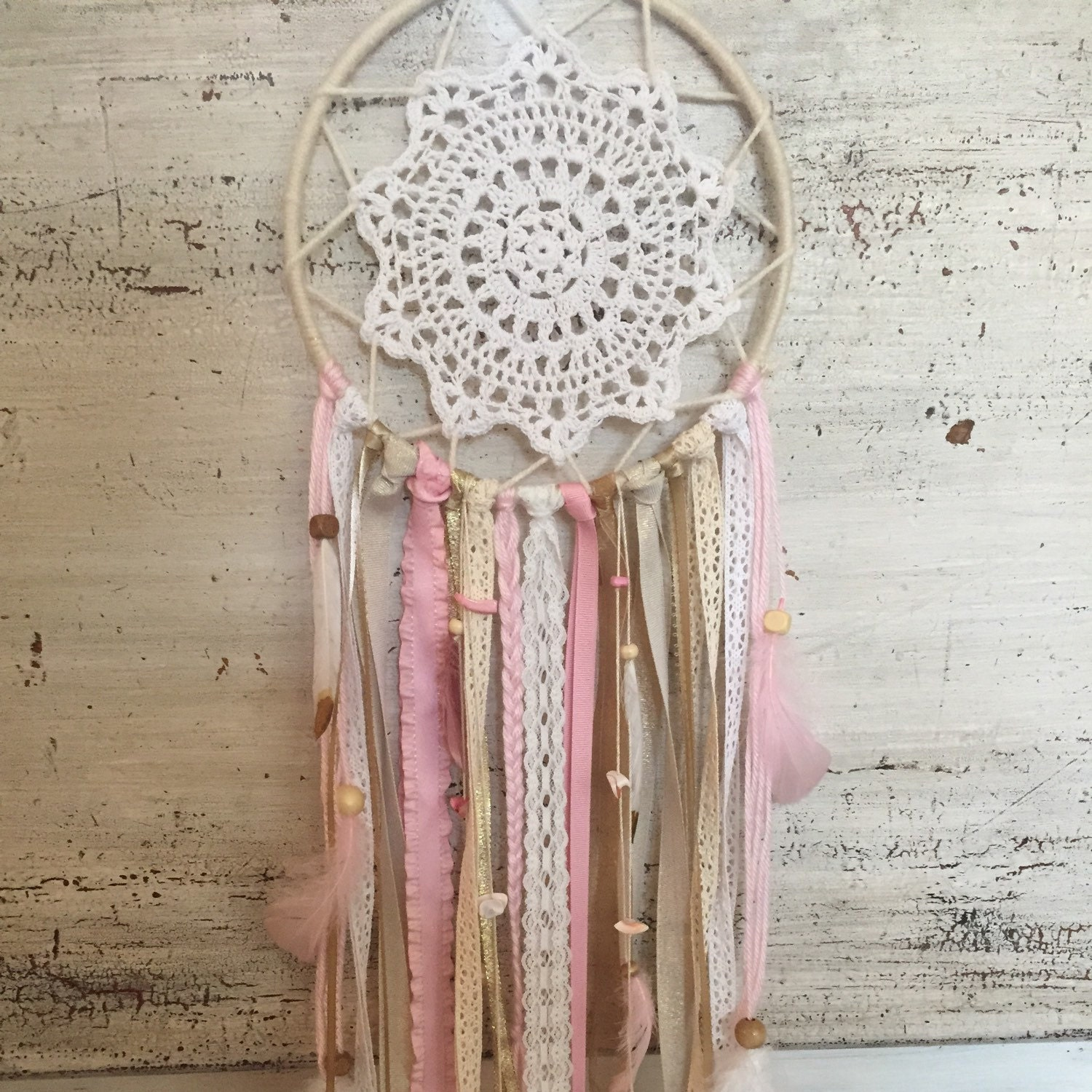 Pink and gold dream catcher pink dreamcatcher pink and gold for Baby girl wall decoration