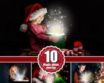 12 magic shine box, christmas present, Photoshop Overlays, Fantasy christmas Photo overlays, sparkles of light magic effect, png file
