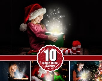 12 magic shine box, christmas present, Photoshop Overlays, Fantasy christmas Photo overlays, sparkles of light magic effect, png file