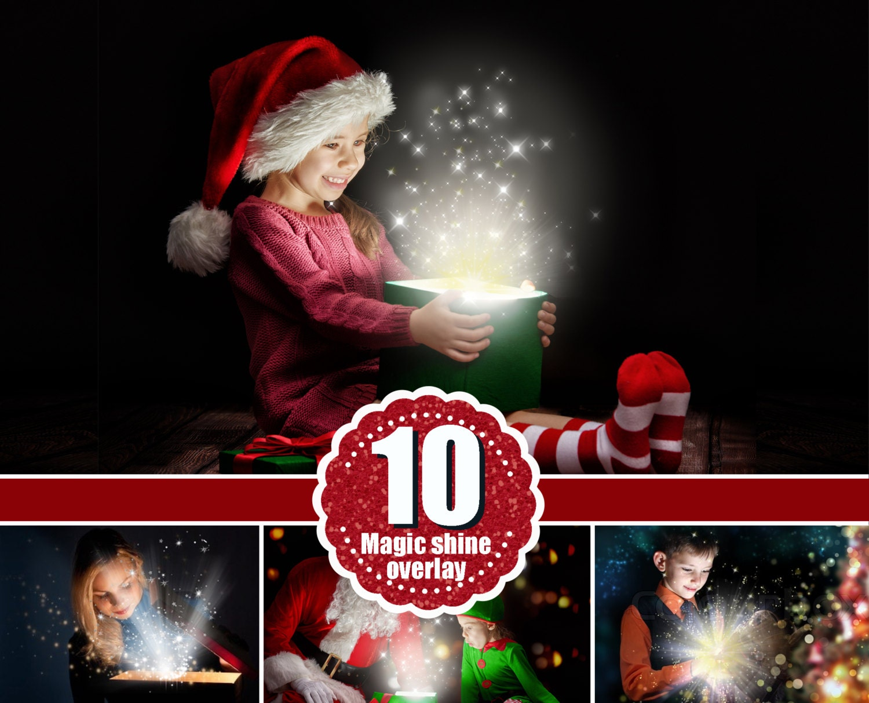 12 magic shine box christmas present photoshop overlays for Photoshop christmas