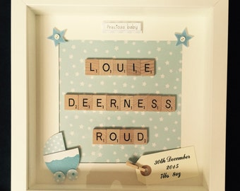 Scrabble Art, Personalised Baby Boy Frame
