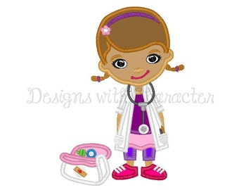 """Cute doctor full body applique machine embroidery design- 2 sizes 5x7"""", 6x10"""""""