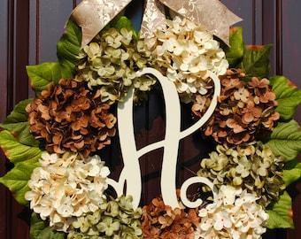 Hydrangea wreath~fall wreath~farmhouse wreath~monogram wreath~front door wreath~front door wreath~housewarming gift~Thanksgiving~Harvest