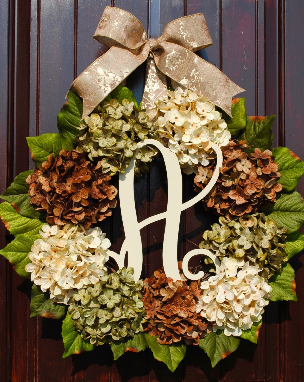 Hydrangea wreathfall wreathfarmhouse wreathmonogram wreathfront