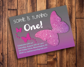 Printable Purple Butterfly Birthday Invitation