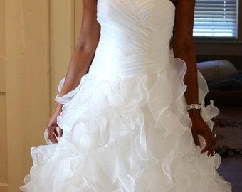 New Handmade Ivory Organza Wedding Dress