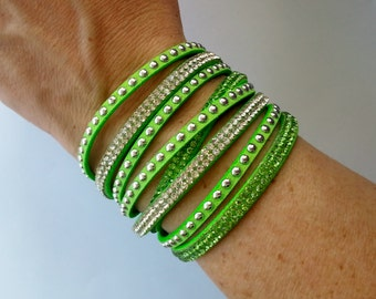 SALE! Lime Green Rhinestone/Suede Doublewrap Adjustable Bracelet - 12 colors to choose from!