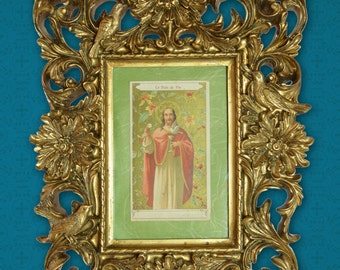 Catholic  Collectible Vintage European Gold Print Holy Card Framed Artwork