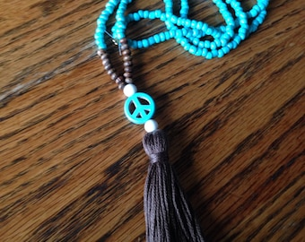 Bohemian Torquoise Peace Tassel Necklace