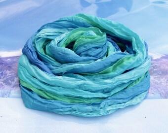 Hand painted silk scarf-Blue,handmade silk scarf,Summer,Wrap silk handpainted,hand-painted scarf,ready to ship