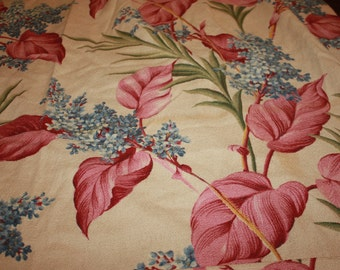 Barkcloth Drapes with Pink leaves