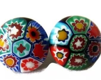 Millifiori Venetian, Mouth-blown Glass Clip Earrings, circa 1930-60, made in Italy