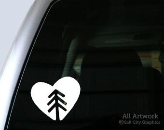 Nature Lover - Tree Hugger Heart Vinyl Sticker, Vinyl Decal - Pine Tree Heart Symbol Car Decal, Laptop Sticker, Window or Bumper Sticker