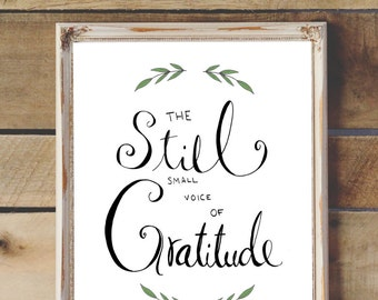 "Hand Drawn Illustration ""Gratitude"" Quote, Hand Lettering, Calligraphy, Digital Download"