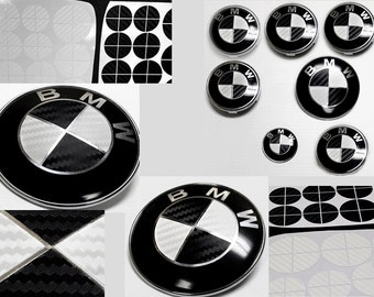 BLACK and WHITE Carbon Fiber Complete Set Vinyl Sticker Overlay for All BMW Emblems