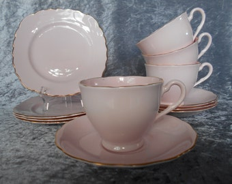 Vintage Pink Vogue Tea Set of Four English Bone China Trios in Powder Pink with Gold 1950's
