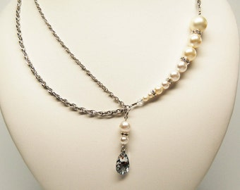Perla swarovski crystal and freshwater pearl necklace