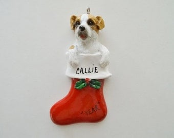 Jack Russell Terrier Personalized  Pet Ornament - Tan/ White Jack Russell Dog Ornament - Black /White Jack Russell Personalized Ornament