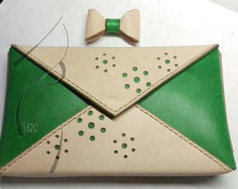 Green & Natural Envelope Clutch