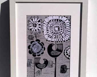 Retro Scandi Violet Campbell Grey, Black and white Bird and Flower Print