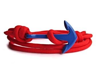 Red & Blue, Rope Bracelet, Anchor Bracelet, Men's Bracelet, Women's Bracelets. Paracord Bracelet.