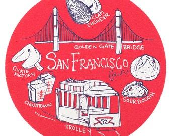 San Francisco Fun Coaster Set, San Francisco Coaster, Reusable Coasters, San Francisco, Tabletop, Party, Food, Travel, California, Cali