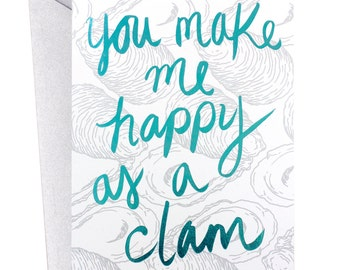 Happy Clam, Nautical Love Card, Nautical Friendship Card, Clam Card, Foil, Natural History, Museum Cards