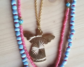Beaded pink&blue mix and match necklace