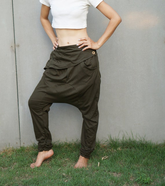 Lastest Harem Pants Grey Drop-Crotch Pants Low Crotch Pants Women