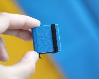 Hand-bound miniature sketchbook bright-blue