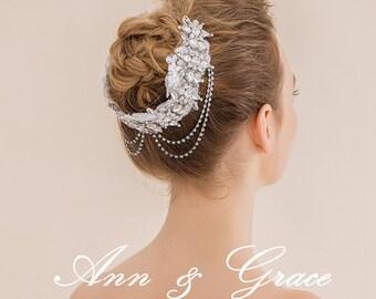 Lace Crystal Headband, Rhinestone Crystal and Lace Bridal Bandeau, Bridal Headpiece Rhinestone Headpiece, Crystal Bandeau