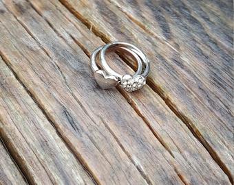 Petite Silver Heart Midi Rings