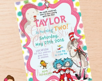 Dr Seuss, Dr Seuss invitation, Dr Seuss invite, Dr Seuss birthday, Dr Seuss birthday party, Dr Seuss printable, Dr Seuss birthday invitation