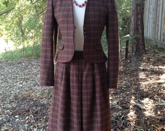 Vintage 1980's Wool Plaid Suit * Size Small *  Mystery Dinner