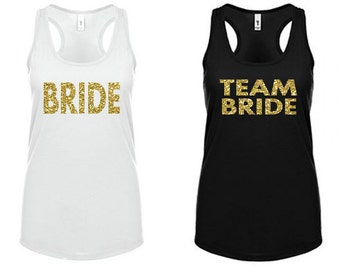 Team Bride Tank Top Set - Glitter Bridal Party Shirts - Bachelorette Party Tank Tops - Black and White Racerback Bachelorette Shirts