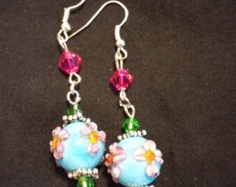 lampwork round spirng earrings