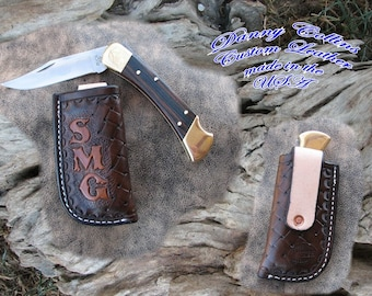 Buffalo and Rattle Snake Knife Sheath.... Buck 110 and other