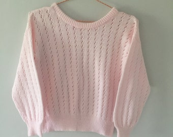80's Knitted Pink Cute Jumper Sweater Small