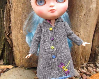 Grey tweed coat for Blythe/dragonfly