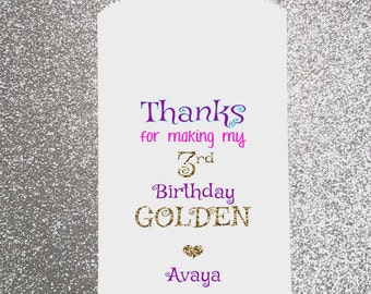 Happy Birthday, Girl, Golden, Candy Bag, Candy Buffet, Candy Favor Bags, Treat Bags, Personalized bag, Gift bag, Glitter, Piñata bag