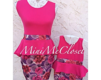 Matching Mother and Daughter Dress (Mom and Me) - Peplum Floral Pink and purple
