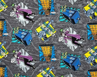 Fabric Sale - Doctor Who Fabric - I'm a Madman with a Box  by Springs Creative - BBC Comic Doc Who