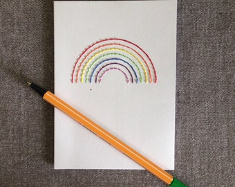 Rainbow hand embroidered greetings card
