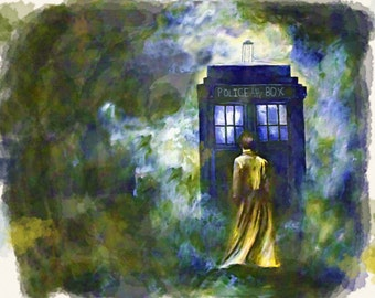 Dr. Who, watercolor painting print
