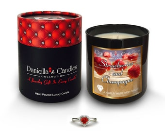 Strawberries and Champagne Jewelry Luxury Surprise Candle - Save 10% with coupon code SALE10 at checkout