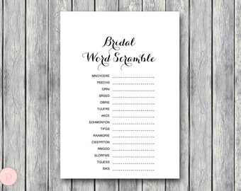 Bridal Word Scramble Bridal Shower Game, Bridal shower game, Bridal shower activity, Printable Game TH00